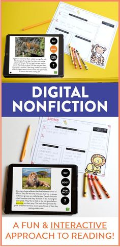 Students use tablets and technology to learn and interact with their nonfiction reading! Students can research all sorts of nonfiction topics and take notes on their learning. They can also take interactive quizzes at the end of each topic!