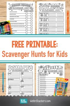 Get four printable scavenger hunts for kids, including a reading scavenger hunt, a five senses scavenger hunt, a shape scavenger hunt, and more. #printables #writing #learningathome #classroom #teaching #classroomideas #summerbreak #activities Kids Activities At Home, Youth Group Activities, Leadership Activities, Educational Activities For Kids, Autism Activities, Physical Education Games, Classroom Activities, Kindergarten Classroom, Elementary School Counseling