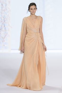 Ralph & Russo | Spring 2016 Couture | 49 Orange embellished maxi dress with asymmetrical shoulders