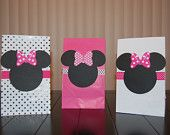 Minnie Mouse Favor Bags- Pink, White, and Polka Dot for Girl's Birthday Party