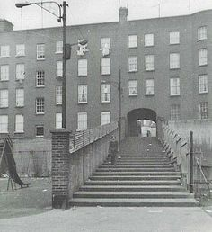 The 27 Steps, which connected Summerhill to the Diamond. All of this area was levelled by the Corporation in the late and early Dublin Street, Dublin City, Photo Engraving, Ireland Homes, Dublin Ireland, Historical Photos, Old Photos, Christmas Decorations, Memories