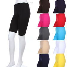 Seamless Solid Plain Just Above Knee Length Athletic Shorts Stretch Spandex SML $4.99