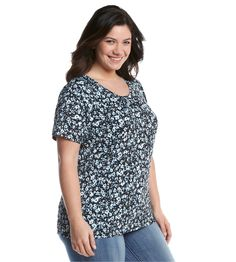 Notations® Plus Size Printed Gathered Neck Tee