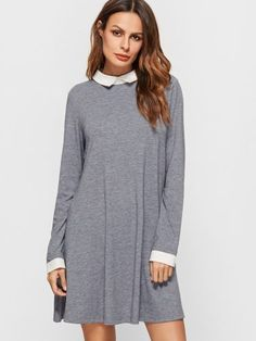 Heather Grey Contrast Collar And Cuff Swing Dress