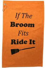 """New Bigger Size! The Broom towel is 16"""" x 25"""", 100% cotton terry velour. This orange and black towel features a corner grommet & hook. It is the perfect size to hang on your golf bag, or bring up with you to the green. It also makes a great gift for your favorite golfer."""