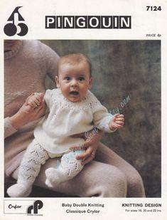 Baby Girls Angel Top & Lacy Leggings in Dk 8 ply by avintagescot