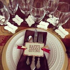 Thanksgiving decor - name tags around wine glasses