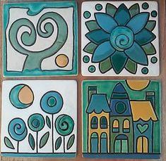 Recién saliditos del horno !!! Tocetos realizados a mano. ...técnica cuerda seca Medidas 10x10cm. $100 cada uno #industrianacional… Tile Art, Mosaic Art, Tiles, Ceramic Painting, Fabric Painting, Ceramic Decor, Ceramic Art, Doodle Drawings, Doodle Art