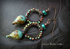 Lampwork Glass, Lampwork Headpins, Primitive, Organic, Rustic, Earthy, Turquoise, Weaved, Beaded Earrings by YuccaBloom on Etsy