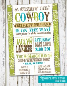 Western Boy - Baby Shower Invitation. $8.00, via Etsy.