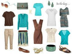 a casual vacation, packing brown and turquoise clothes and accessories