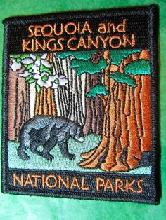 Sequoia kings canyon national parks embroidered patch california souvenir (213) National Park Posters, National Parks, National Park Patches, Sequoia, Travel Souvenirs, Fabric Patch, Embroidered Patch, Badges, Wildlife