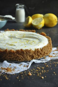 Lemon Yogurt Fridge tart - My Easy Cooking Lemon Desserts, Lemon Recipes, Tart Recipes, Easy Desserts, Sweet Recipes, Baking Recipes, Delicious Desserts, Slow Cooker Desserts, Sweet Pie