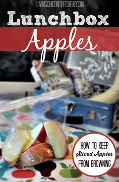 **Lunchbox Apples: How To Keep Sliced Apples From Browning! ** I was so tired of spending crazy money for sliced apples at the grocery store. Turns out you can make these yourself with all natural ingredients. Super fast, super easy and it saves money! This tutorial walks you through the simple process with instructions and photos. #moneysavingtips #tips #lunchboxideas