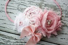 White and light pink rosette and chiffon flower headband. $16.00, via Etsy. Birdie Baby Boutique.