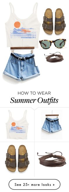 """Summer outfit"" by elizadye on Polyvore featuring Billabong, Birkenstock, J.Crew, Zodaca, women's clothing, women, female, woman, misses and juniors"