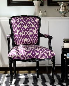 I love the ikat print, especially on such a formal chair in an unexpected color like purple.