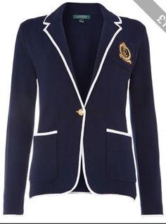 Ralph lauren cotton blazer in navy/white