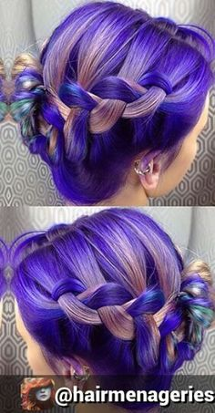 purple braided dyed hair