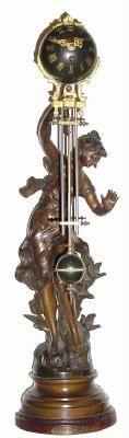 1890, francés, bronceado Spelter, reloj de balanceo (acción misteriosa)