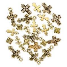 """Bead and drop, antique gold-finished """"pewter"""" (zinc-based alloy), 12x9mm-26x17mm single- and double-sided assorted cross. Sold per pkg of 25."""