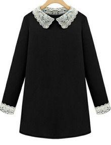 Vestido combinado solapa encaje-negro
