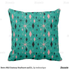 Retro Mid Century Starburst and Diamonds Pattern Pillows