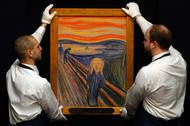 """Edvard Munch's famed 1895 pastel of """"The Scream"""" to sell for $119.9 million, becoming the world's most expensive work of art ever to sell at auction."""