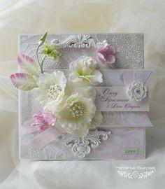 Купить открытка свадебная в коробочке «Белые цветы» - белый, розовый, нежность, свадебная открытка