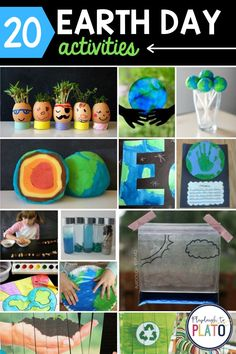 Earth Day is the perfect time to learn how we can make our planet a healthier, cleaner place to live. These 20 Earth Day activities include our favorite earth-friendly crafts, science experiments and projects from across the web. Get ready for some serious fun!! Earth Day Activities, Spring Activities, Fun Activities For Kids, Crafts For Kids, Playdough To Plato, Playdough Activities, Earth Day Crafts, Cool Science Experiments, Spring Crafts