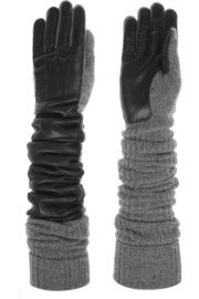 Rochas Wool-blend and leather gloves