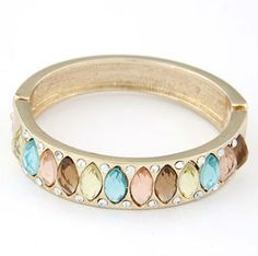 NativeAfrika: Multicolored Diamond Decorated Simple Design Fashion Bangles