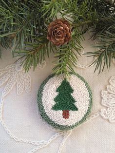 Ornament   Punch Needle  Holiday Tree by GeorgiaStr on Etsy, $12.00