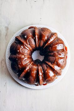 Banana Bundt Cake with Salted Dulce de Leche