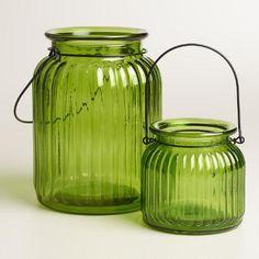 Green Ribbed Glass Lantern  Candleholder at WorldMarket.com
