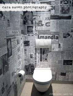 Funky! Toilet wallpaper made out of old newspaper clippings!: