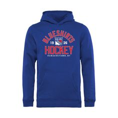 New York Rangers Youth Hometown Collection Blue Shirts Hockey Pullover Hoodie - Blue