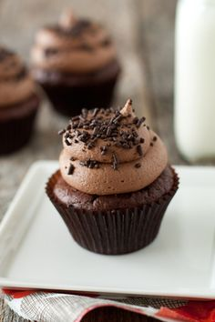 Chocolate chip cupcakes with chocolate cream cheese frosting ;)