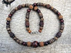 Mens surfer necklace, tiger eye, rudraksha seed, wood and coconut shell beads, tribal style, on strong cord, handmade and one of a kind