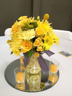 Yellow centerpieces for my reception.  Vase will be large mason jars with various shades of purple for overlays.