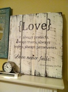 Handpainted Barn Wood Sign with Love Scripture: 1 Corinthians 13