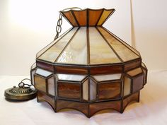 Vintage Antique Slag Stained Glass Panel Chandelier Ceiling Light Lamp Fixture