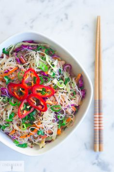 Gluten Free Asian Noodle Salad via Linda Wagner. -- I'd have to figure out a way to make it soy free - coconut aminos maybe?