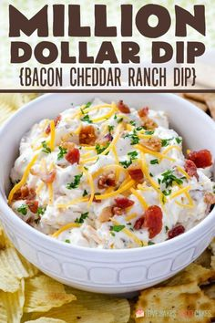 Bacon, cheddar, and ranch seasoning combine with sour cream in this addictively delicious Million Dollar Dip that is a hit wherever you serve it! Neiman Marcus Dip, Appetizer Dips, Appetizer Recipes, Dinner Recipes, Breakfast Recipes, Fall Appetizers, Potluck Recipes, Breakfast Ideas, Snack Recipes