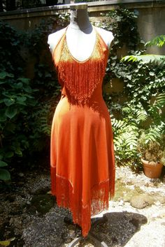 Orange Flapper Dresses