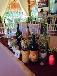 CBV200 Weddings Riviera Maya baby breath bottles centerpieces / bodas centro de mesa con botellas y nube