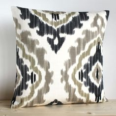 Grey and Beige Ikat Pillow Cover  16 x 16 Ikat by CoupleHome, $14.50