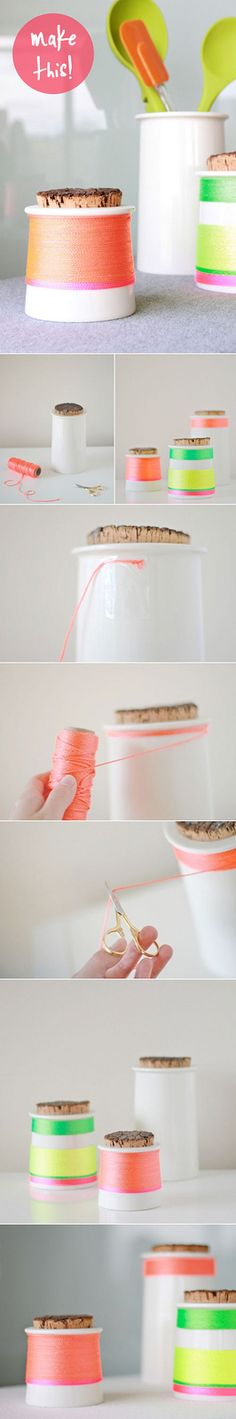DIY idea for basic bottles You can even spray paint part of the vase gold and add the floss to the rest of the vase