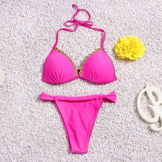 ffa4ebd1cdb Bikini Set 2016 Bandage Bikini Pink Push Up Sexy Swimwear Biquini Brazilian Swimsuit  womens Swim Wear Bathing Suit - CattleyaStore - Hot Beachwear ...