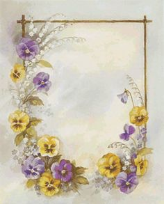 love this, reminds of mom since her favorite flower was the pansy (mother's day card for Julie? Vintage Labels, Vintage Cards, Vintage Paper, Vintage Wreath, Floral Vintage, Vintage Flowers, Scrapbook Paper, Scrapbooking, Paper Art